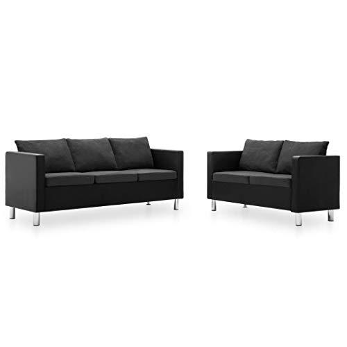 Festnight- Sofaset 2-teilig Wohnmöbel Sofagarnitur Schlafcouch EIN 2-Sitzer-Sofa und EIN 3-Sitzer-Sofa Kunstleder -