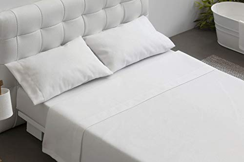 Burrito Blanco Juego de Sábanas Blancas Hotel Lisas de Algodón 100% para Cama Individual 90x190 cm...