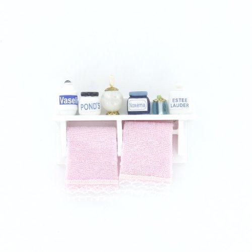 1/12 Miniatura Casa Delle Bambole In Legno Bagno Cremagliera Muro Bianco