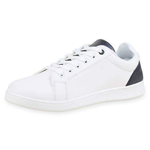 SCARPE VITA Herren Sneaker Low Leder-Optik Schuhe Metallic Schnürschuhe Bequeme Freizeitschuhe Low Top Turnschuhe 182803 Weiss Marineblau 44