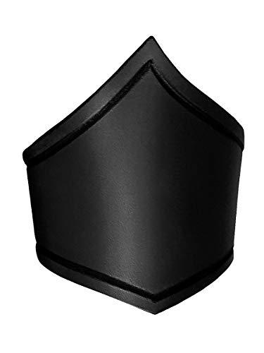 eiteter Amazonen-Oberarmreif aus echtem Leder mit Rillenverzierung - Schwarz - Größe L - Zubehör LARP Mittelalter Wikinger Fantasy & Cosplay ()