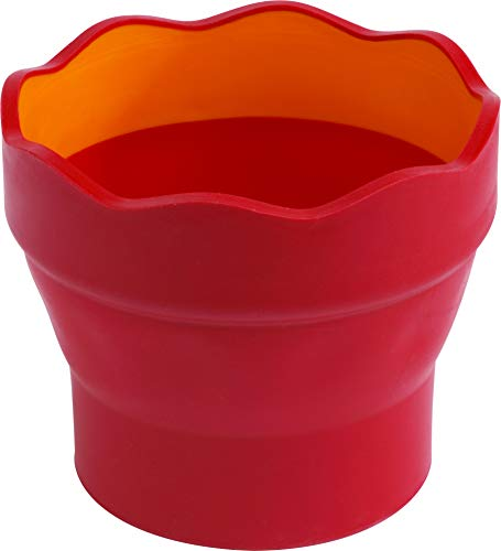 Faber-Castell 181517 - Wasserbecher CLIC & GO, faltbar, rot, 1 Stück
