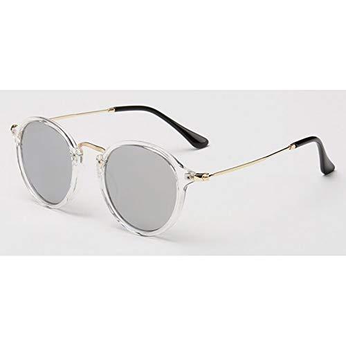 KCJKXC Frauen Retro Spiegel Kreis Objektiv Sonnenbrille Marke Design Frauen Runde Sonnenbrille Shades Beschichtung Männer Sonnenbrille