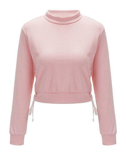Smile YKK Hohe Kragen/Long Sleeve/Kurz Damen Mädchen T-Shirt Tops Sweatershirt Oberteil Pullover Pink