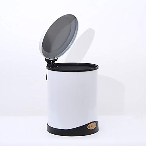 Pattumiera senza pedali con coperchio a induzione/rotonda per lo smaltimento automatico dei rifiuti, per soggiorno, cucina, bagno moderno M8L bianco