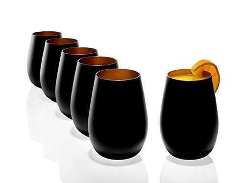 Stölzle Lausitz Becher Olympic 465 ml, 6er Set, Wassergläser in schwarz (matt) und bronze, spülmaschinenfest, bleifreies Kristallglas, hochwertige Qualität