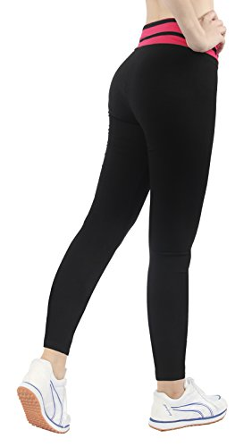 Jogging damen hose sport Schwarz/Rosa Stretch Leggings lange Strumpfhosen jogginghose,L (Cord-stretch-leggings)