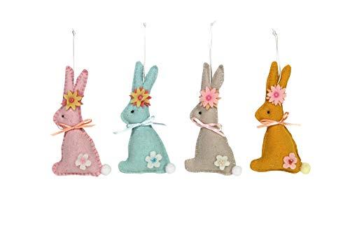 Gisela graham - set di 4 coniglietti pasquali in feltro con decorazioni floreali
