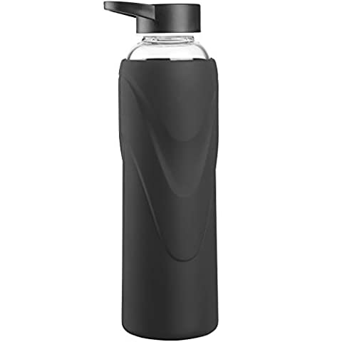 Justfwater Sports Glass Water Bottle with Silicone Sleeve 660 ml
