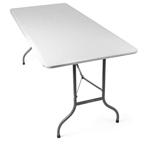 Tavolo Pieghevole da Giardino Bianco perfetto come Tavolo da Campeggio, da Buffet, da Cucina | Tavolino Esterni Richiudibile a Valigetta con Maniglia