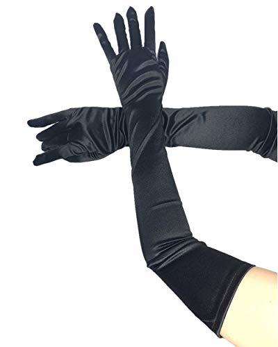 PANAX Schicke Extra Lange Damen Handschuhe aus elastischem Satin in Schwarz - XXL Stulpen in Einheitsgröße für Frauen, Hochzeit, Oper, Ball, Fasching, Karneval, Tanzen, Halloween...