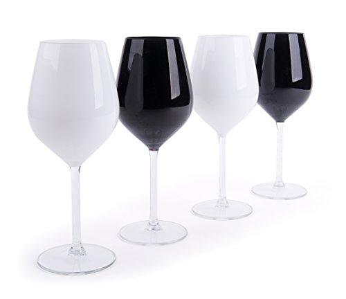 Excelsa Color Wine Set Weingläser, Glas, Weiß und Schwarz, 6x 6x 23cm, 4Stück