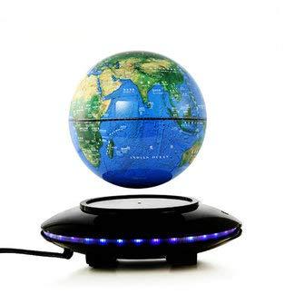 6'' LED Magnet Globus, Magnetische Kugel Der Levitation, Magnetschwebebahn Floating Globe World - Antigravity Globe für pädagogische Geschenk Demonstration Lehre Dekoration Büro (Blau) (Acryl-globus-leuchte)