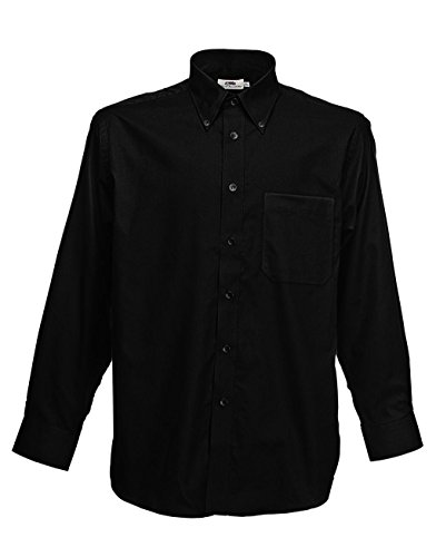 Fruit of the Loom Herren Sporthemd Oxford Shirt Ls Black