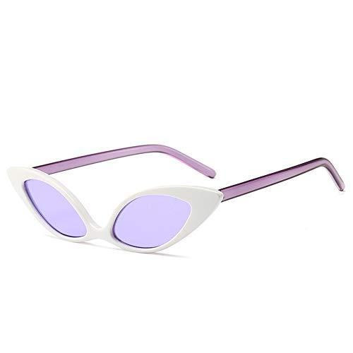 DFBUB Katzenauge Sonnenbrille Europa und die Vereinigten Staaten Trend Persönlichkeit Sonnenbrille Bunte Sonnenbrille weiblich, weiße Box lila