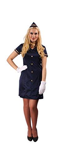 Kostüme Ideen Für Karneval Frauen (Sexy Stewardess-Kostüm für Damen | Größe: 36-38 | Flugbegleiterin Verkleidung in Marineblau für Frauen | Erwachsenenkostüm für Karneval & Fasching in)