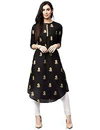AnjuShree Choice Women Stitched Black Cotton Kurti Kurta