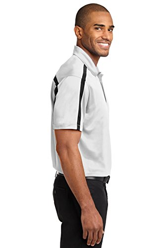 Port Authority Herren Seide Colorblock Stripe Polo Steel Grey/ White