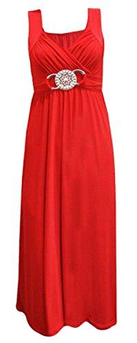 Damen-abendmode Size Plus (Frauen plus size Schnalle Taille binden zurück Abend lange Maxi-Kleid)