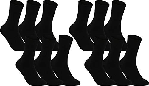 Vitasox 31196 Herren Socken Business Herrensocken Baumwolle Baumwollsocken Gesundheitssocken ohne Naht ohne Gummi 12er Pack schwarz 39/42