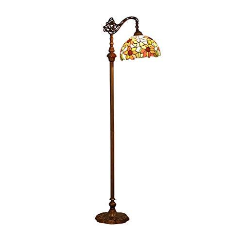 ACHNC Tiffany Stehlampe Wohnzimmer, 16 Zoll Rot Retro Buntglas Sonnenblume Blume Lampenschirm Einstellbarer Winkel Wohnzimmerlampe Standleuchte Für Wohnzimmer Schlafzimmer Bett Lese