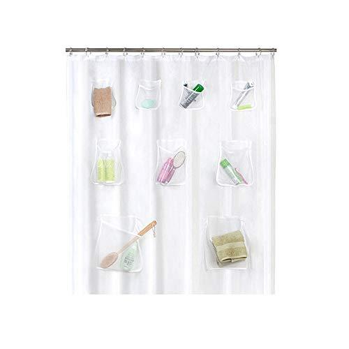 Canava tenda da doccia con tasche a rete, organizer da bagno impermeabile resistente alla muffa ecologico - 180 * 180 cm