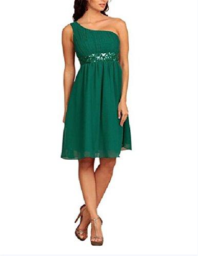 Super Prom One Shoulder Kleider Pailletten abendkleider knielang kurz elegant (40, Dunkelgr¨¹n) (Prom Sparkle Kleider)