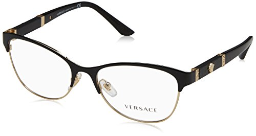 Versace - VE 1233Q, Schmetterling, Metall, Damenbrillen, BLACK PALE GOLD(1366), 53/17/140