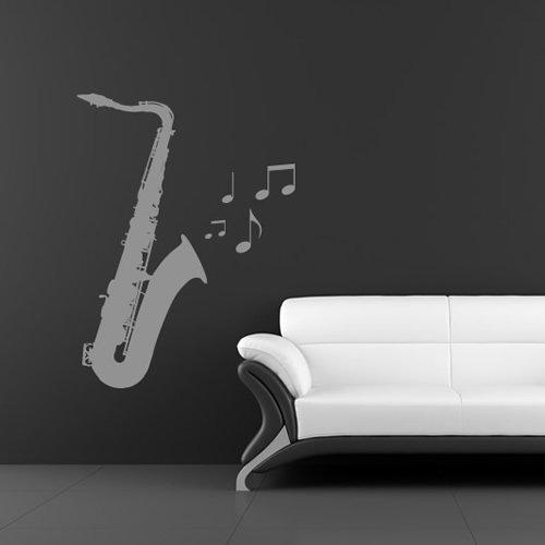 Saxophon-Musik-Wandsticker-Wandtattoo-Kunst-verfgbar-in-5-Gren-und-25-Farben-Extragro-Schwarz