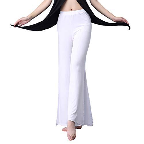 YiiJee Damen Tanzkleidung Bauchtanz -Kostüm-Set Tops & Wide-leg Pants Weiß Freie Größe