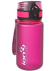 Ion8- Bottiglia per l'acqua, a prova di perdite, senza BPA., Bambino, Kid's Leak Proof BPA Free, Frosted Pink, 350 ml