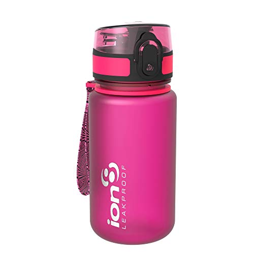 ion8 Leak Proof BPA Free, Botella de agua, sin BPS, a pueba de fugas, Rosa (Frosted Pink), 350 ml