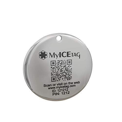 MyICETag Round Steel Tag Personalized Custom Engraved Digital Pet ID System Track Scanned GPS Location Dog/Cat