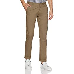 Arrow Sports Men's Relaxed Fit Casual Trousers (ASWTR2423_Khaki_32W x 34L)