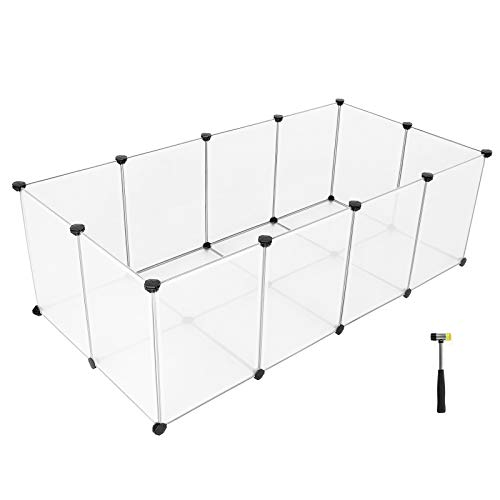 SONGMICS Enclos Petits Animaux Fond, Cage modulable...