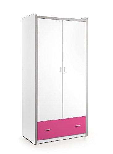 Kleiderschrank Valerie weiß / pink B 97 cm H 202 cm Jugendzimmer Kinderzimmer Schlafzimmer Drehtürenschrank Wäscheschrank Schrank