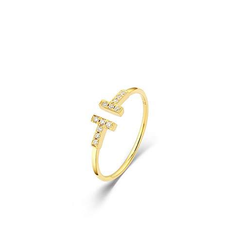 HXUJ Echte 18 Karat Roségold Gelbgold Diamant offenen Ring geformt AU750 feine Ehering Braut Verlobungsring,6
