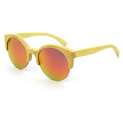 QYYtyj Fahren polarisierte Sonnenbrille Runde semi-randlose handgemachte Holz Bambus Sonnenbrille farbige Linse UV400 Schutz für Männer Frauen (Color : Orange)