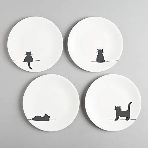 Jin Designs Fine Bone China Katze Teller, Set von vier-20,3cm-Geschenk für Cat Lover - 4 Fine China