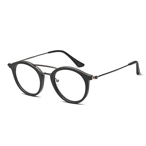 Herren Sonnenbrillen Brillengestell für männer und frauen mode klassische vintage runde holzmaserung brillengestell LTJHJD (Color : Schwarz, Size : Kostenlos)