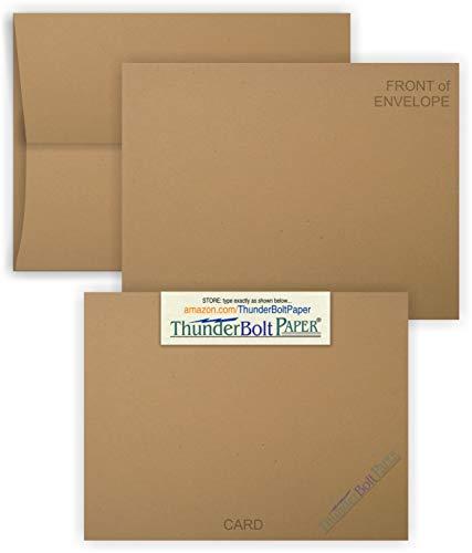 Blanko-Karten mit A-7 Umschlägen, Braun, Kraftfaser, 75 Sets - passende Packung, Einladungen, Grußkarten, Dankeschön, Notizen, Urlaub, Hochzeiten, Geburtstage, Ankündigungen, 80 Stück -