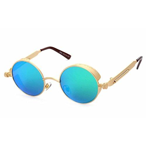 Highdas Klassische Dampf Punk Sonnenbrille Rund Reflective Brillen fur Herren und Damen C6