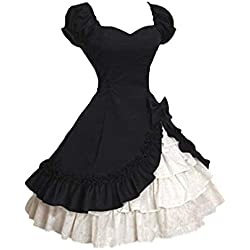 Mujer Vestido Lolita Vintage Vestido De Noche De Manga Corta Capas con Volantes Corte Gótico Traje De Cosplay con Arco