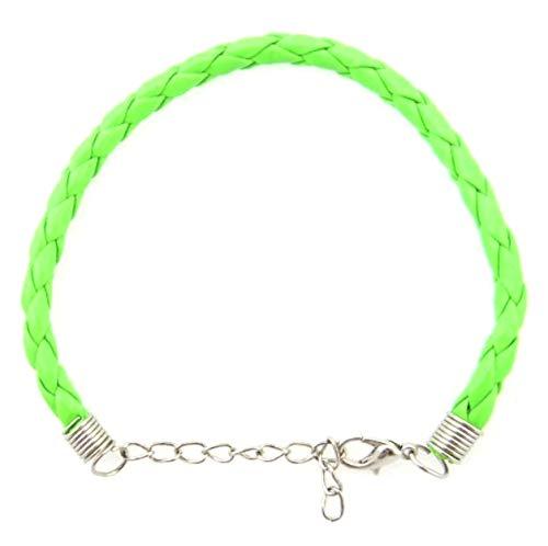 Herren Damen Armband Neon Grün 0,5cm Karabiner Verschluss