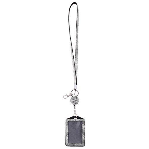 Baoblaze Strass Ausweishülle Ausweishalter mit Band ID Abzeichen Halter Kartenhalter Ausweishülle Abzeichenhalter Schlüsselanhänger - Weiß