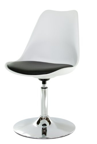 Tenzo 3309-000 TEQUILA - Designer Esszimmerstuhl, Kunststoffschale mit Sitzkissen in Lederoptik, Untergestell verchromt, 83 x 49 x 53 cm, weiß / schwarz