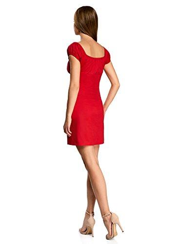 oodji Ultra Damen Baumwoll-Kleid mit Raffungen auf der Brust Rot (4502N)