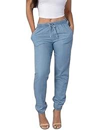 Hibote Mezclilla Pantalones para Mujer - Retro Cintura Media Vaqueros Mujer Slim Fit Casual Jeans Largo, Cómodo Cintura Elástica Denim Pantalones Streetwear con Bolsillos