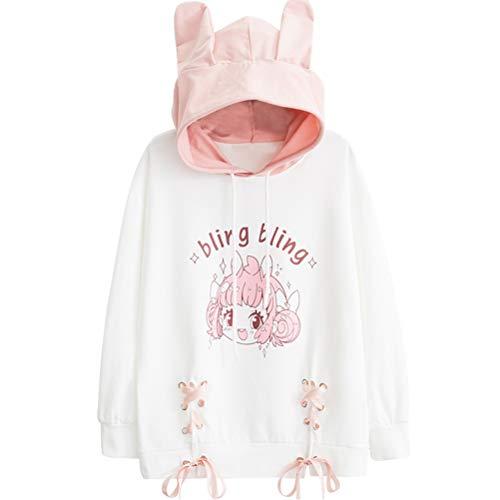 YUFAA Frauen japanische niedlichen Anime Print Langarm lose Pullover Mädchen Sweatshirt Kordelzug (Color : Weiß, Size : ()