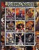 Congo 2002 X-Men - Titans #1 perf sheet set of 9 values u/m ENTERTAINMENTS FILMS CINEMA COMICS FANTASY SCI-FI JANDRSTAMPS